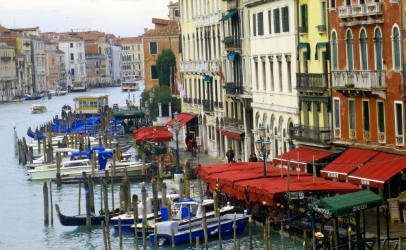 I shot this photo from the Rialto Bridge looking down on the Grand Canal.