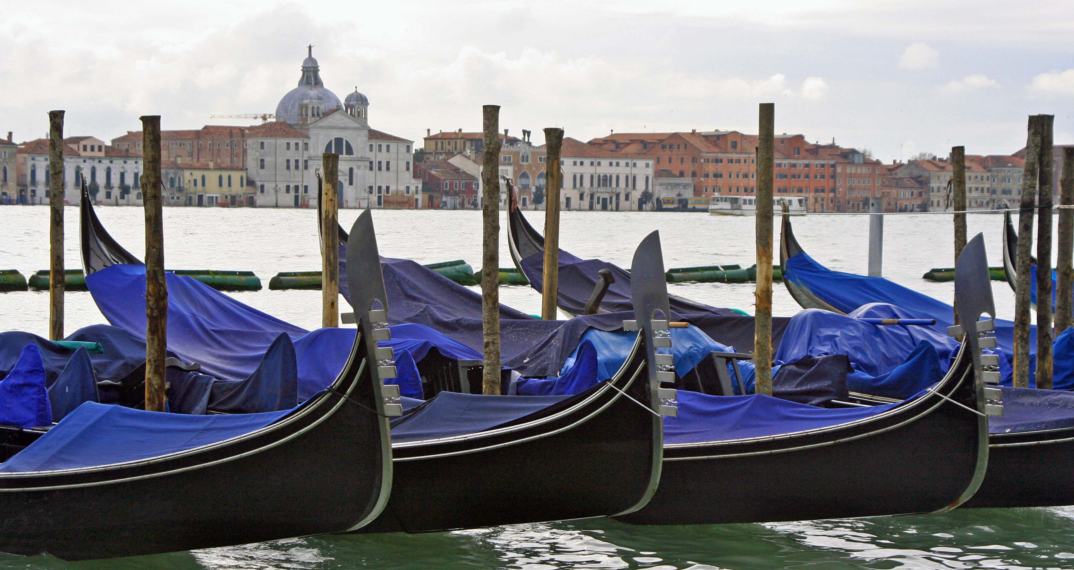 Peggy took this photo of parked gondolas looking from Venice proper across at the island of La Giudecca