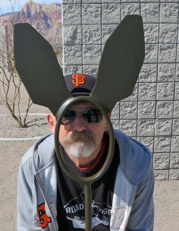 Ken Lake, dressed up in his SF Giants memorabilia, demonstrates the proper se of the rabbit ears.