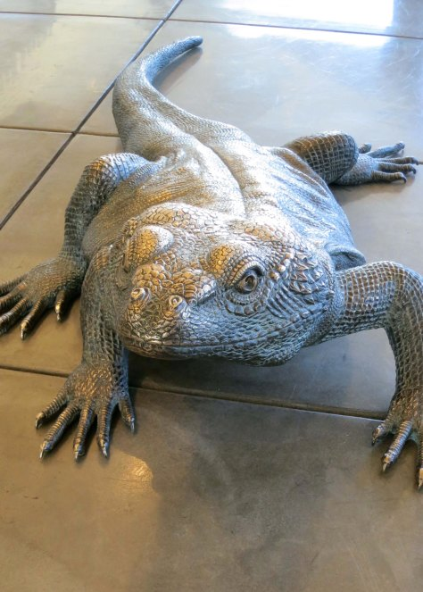 This human size silver lizard was one of several sculptures at the Red Canyon Visitors' Center.