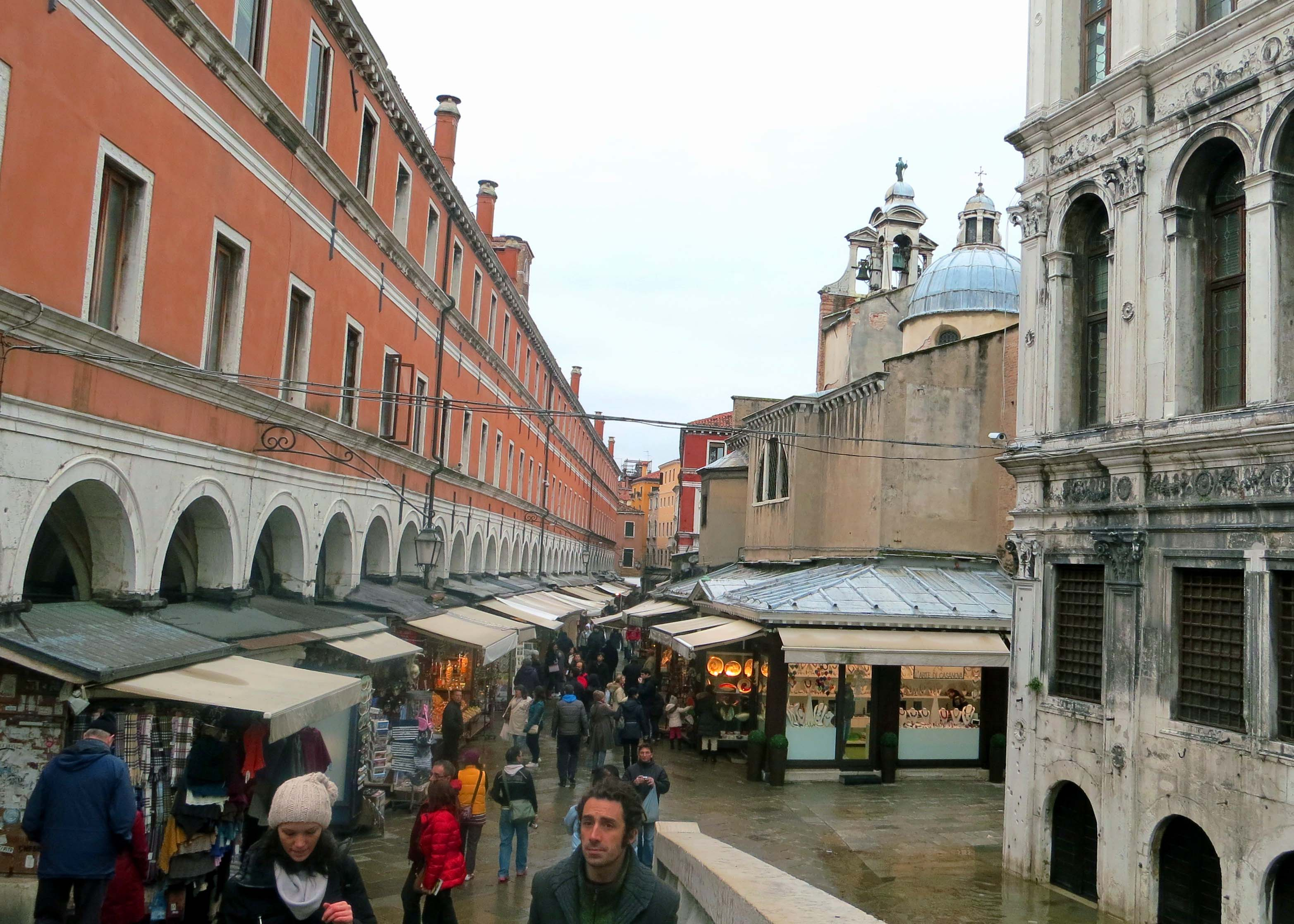 We found this open air market just off of the Rialto Bridge. Even on a cold, rainy day, it was packed with people. I suspect there was a fair amount of Christmas shopping going on since it was mid-December.