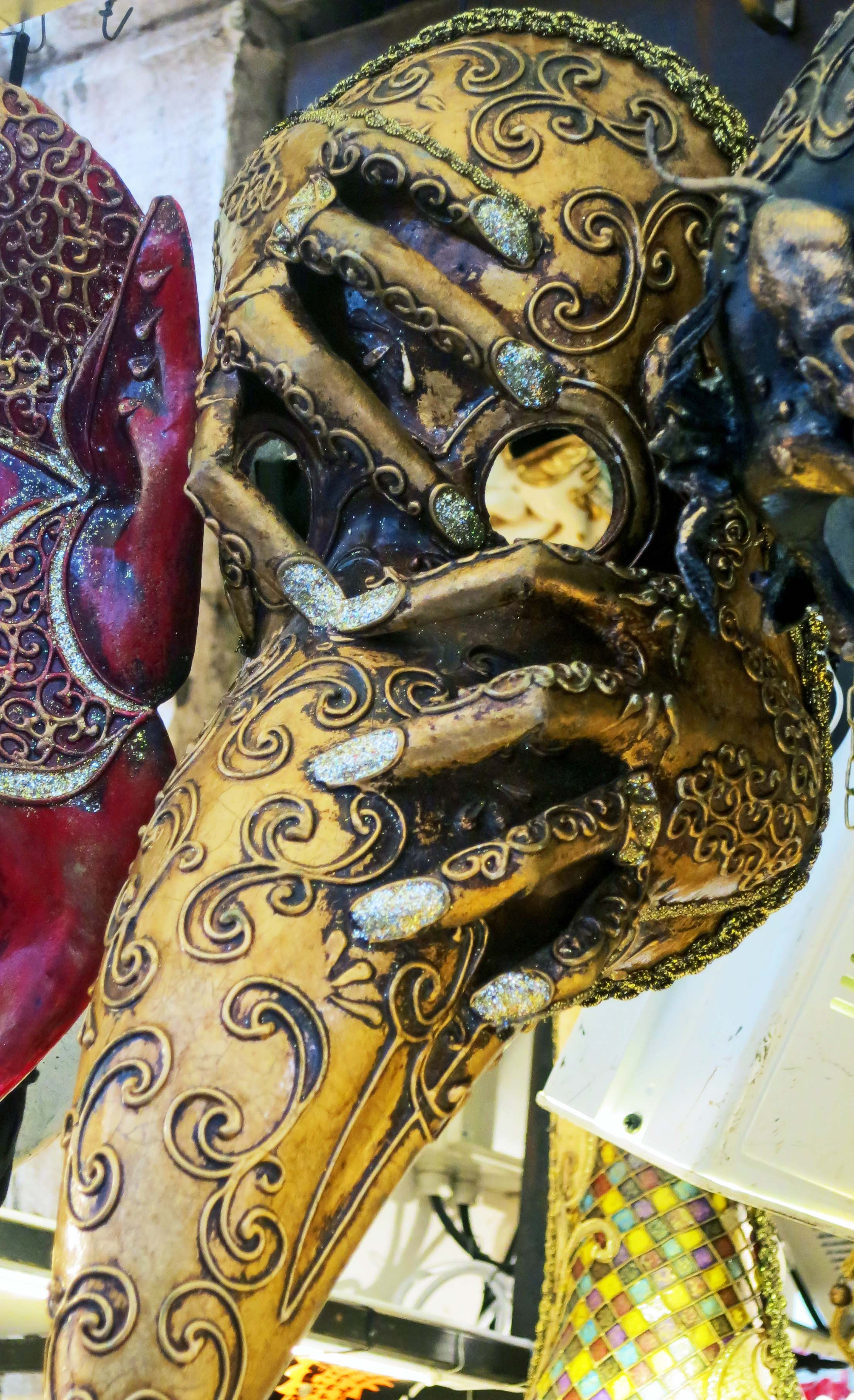 The fingers grasping this Venetian plague mask caught my attention.