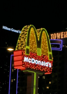 Even McDonalds adds a touch of glitz on the Strip.