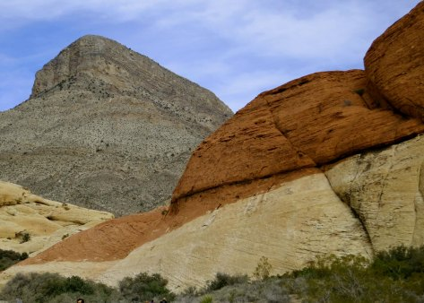 I liked the contrasting rock colors provided by this photo on our 13 mile drive through Red Rock Canyon.
