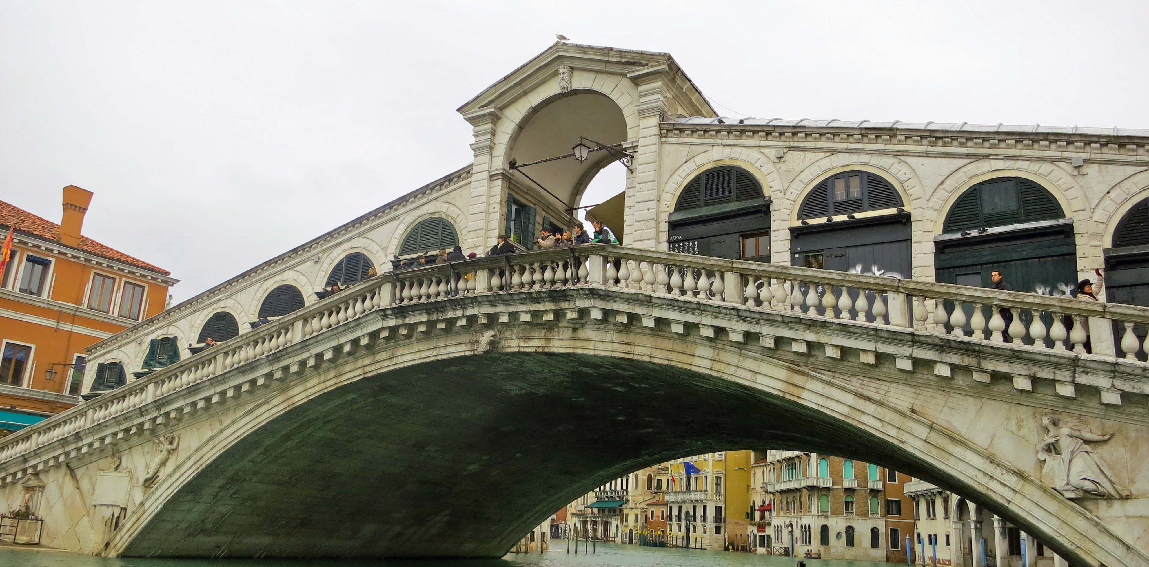 This photo shows the famed Rialto Bridge that served for centuries as the only bridge across the Grand Canal, which snakes its way through Venice as the major transportation corridor.