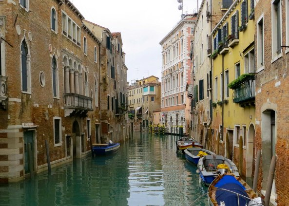 Smaller canals, known as rivers in Venice, provide a more intimate view of life in the city. The buildings here were built by wealthy Venetians when Venice was a major world power controlling trade between the East and the West. Houses then, as now, were a symbol of wealth and power.