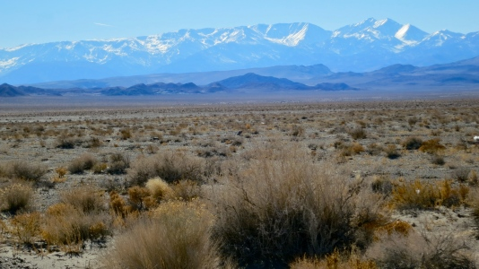 This photo includes a view of the Sierra Nevada Mountains from Highway 95.