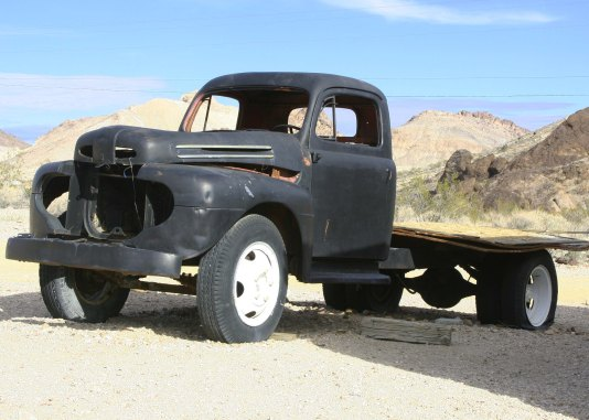 Outside of Reno and Las Vegas, trucks rule in Nevada. (I found this one in the ghost town of Ryolite.)