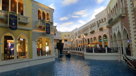 Wandering through the various casinos can also provide a day's entertainment. The Venetian Casino in Las Vegas features canals, gondolas, and gondoliers who sing. The sky is fake.
