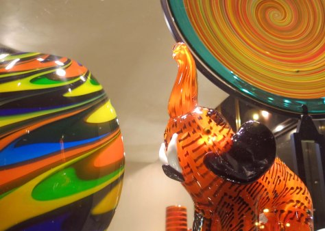 I liked this Venice window display because it captured different types of glass work including the elephant.