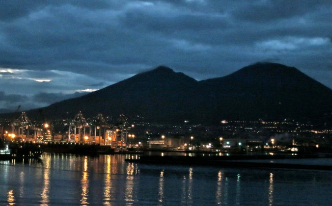 Our early morning arrival at the seaport of Naples showed Mt. Vesuvius looming over the city on a rainy day. The volcano is counted among the world's most dangerous given the 3 million people that live around its base.
