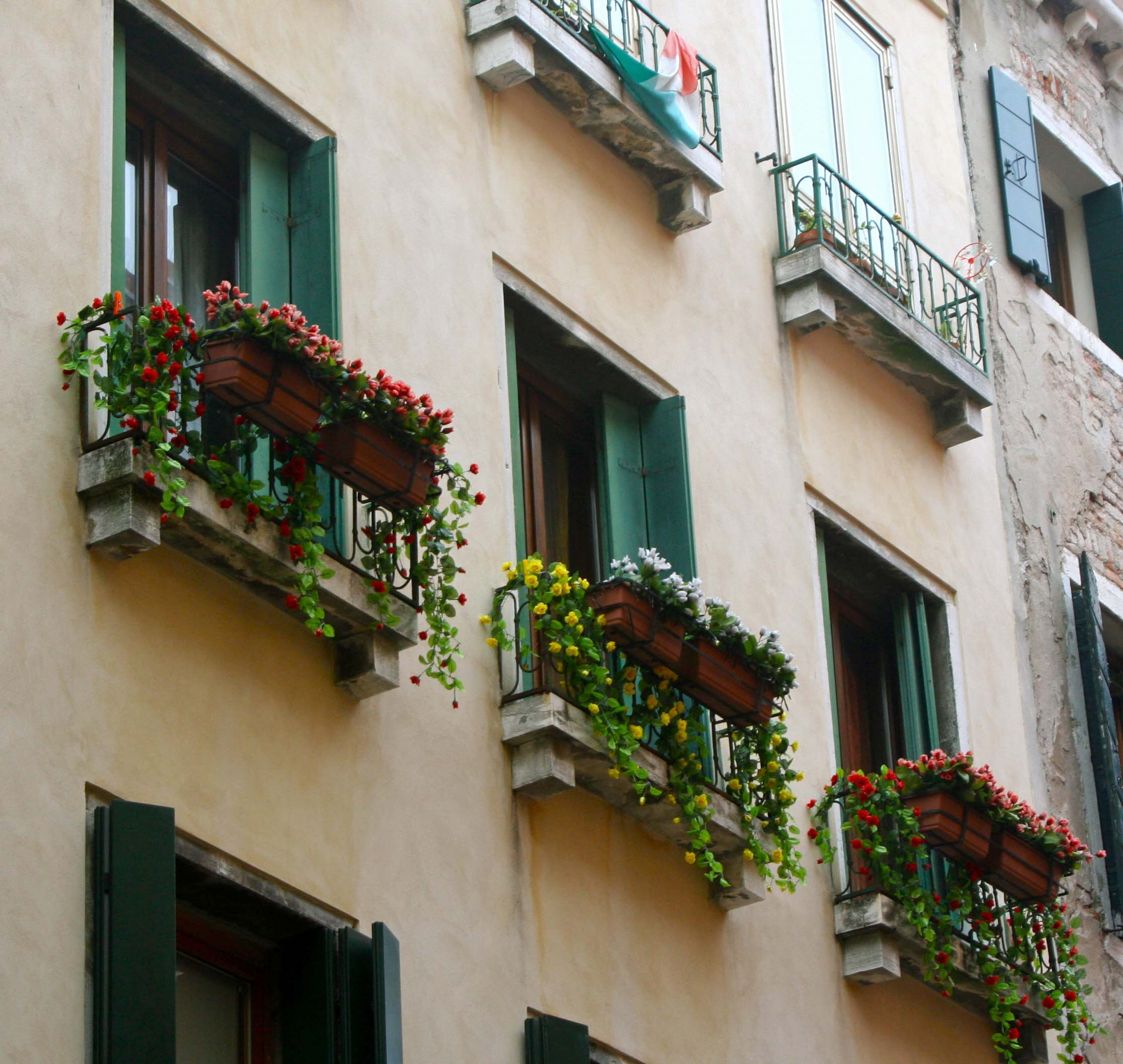 Window flower boxes are common in Venice, Italy.