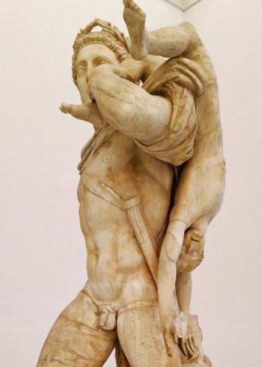 Achilles shoulders the body of the dead boy Troilus he had killed in relation to the Trojan War.