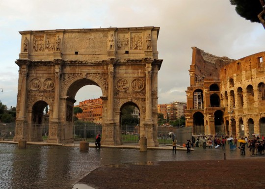 Roman emperors loved their triumphal arches even more than they loved statues. It provided a very public opportunity to show how great they were. The Arch of Constantine is located right next to the Colosseum.