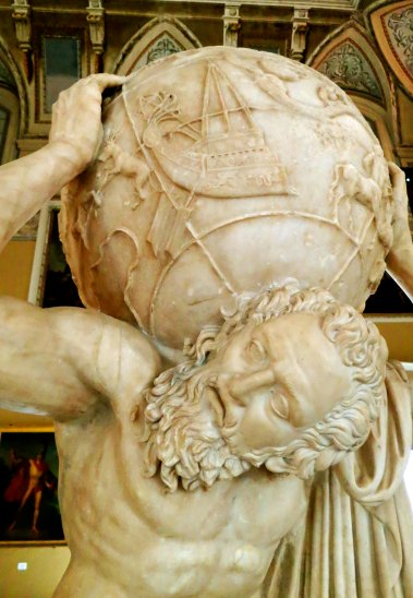 Atlas holds up the sky as a punishment form Zeus. This early sculpture would help define our concept of Atlas.