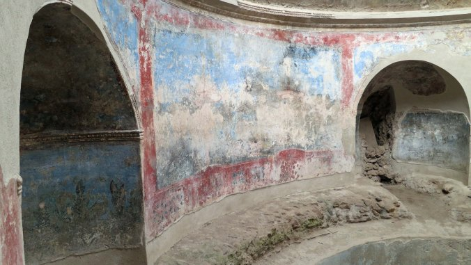 Every Roman city had public baths for men and women. The baths at Pompeii are among the best preserved. Each bath came with heated floors and hot, warm and cold water. They were also extensive decorated. This bath had murals on the walls.