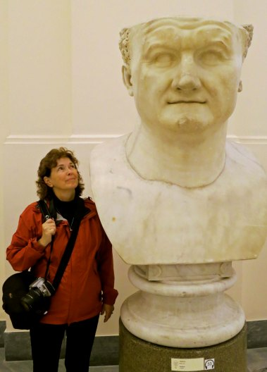 I will explore several of the great sculptures found in the Archeological Museum of Naples in my next blog. Here Peggy admires a very big bust.
