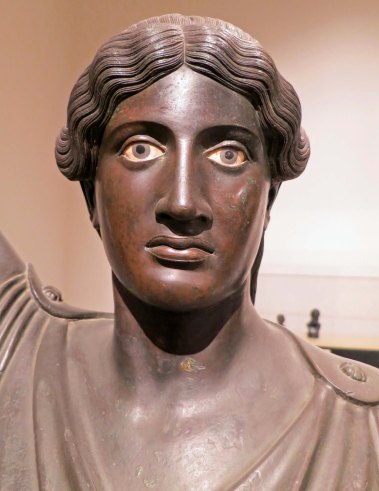 This is a bronze statue that was recovered from the house of Julius Caesar's uncle in Herculaneum.