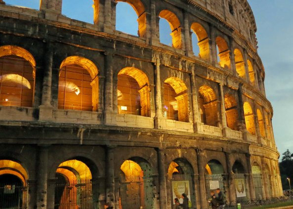 A final view of Rome's Colosseum at night.