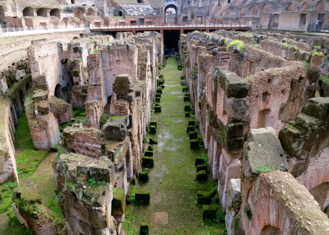 A basement view of Rome's Colosseum.