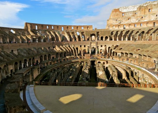 This photo, taken from the opposite end of the Colosseum provides a perspective on what the original floor might have looked like.