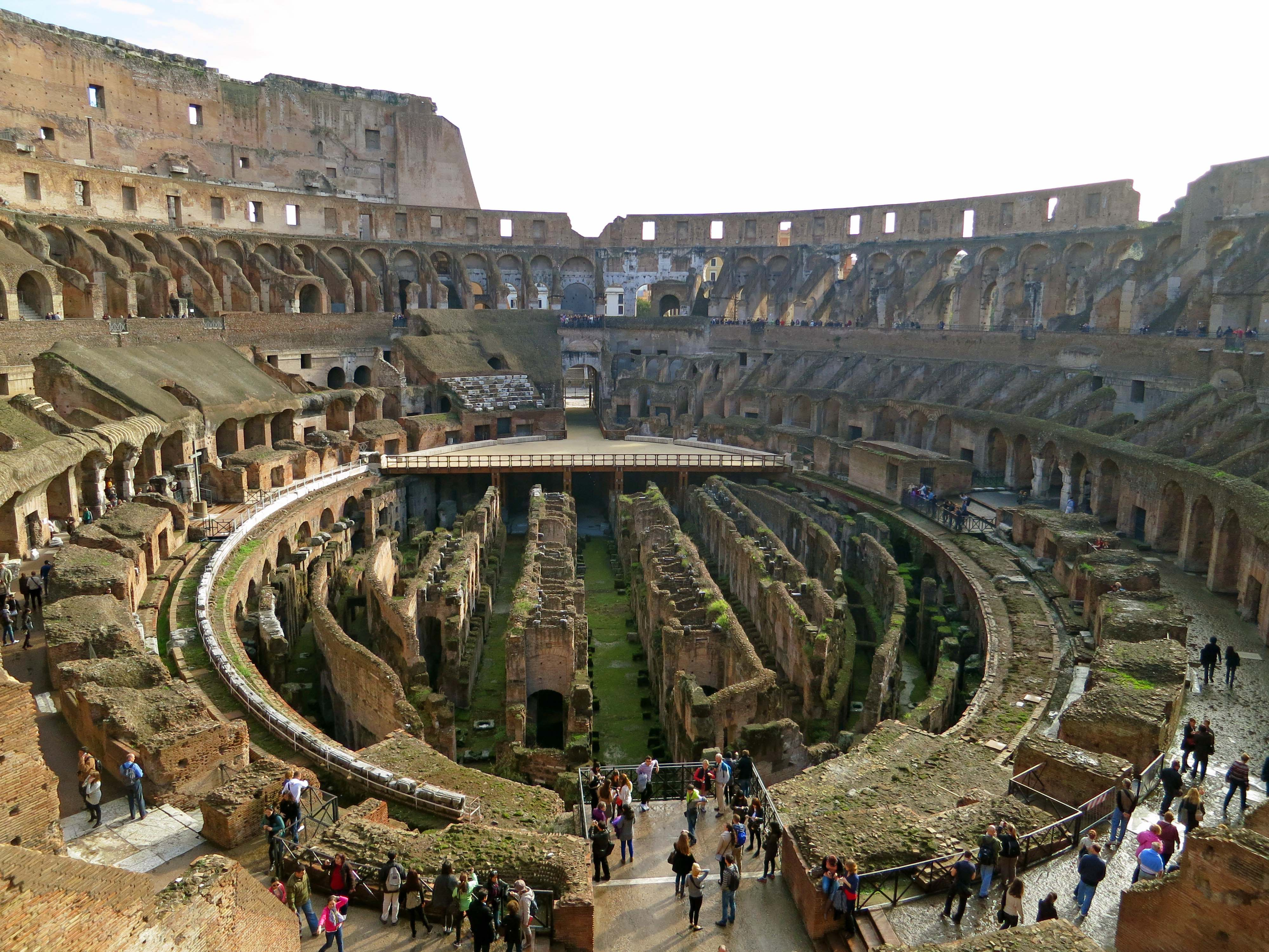 Looking down into the basement of the Colosseum where wild animals, props and scenery were stored.