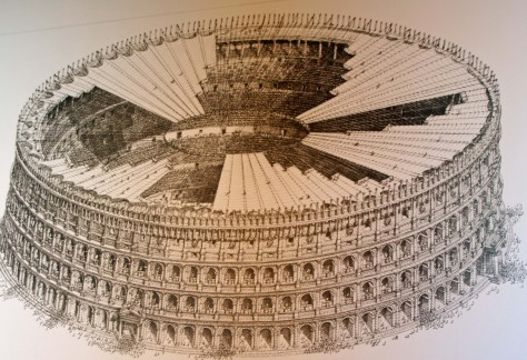 This illustration shows what the Colosseum would have looked like with it's awning.