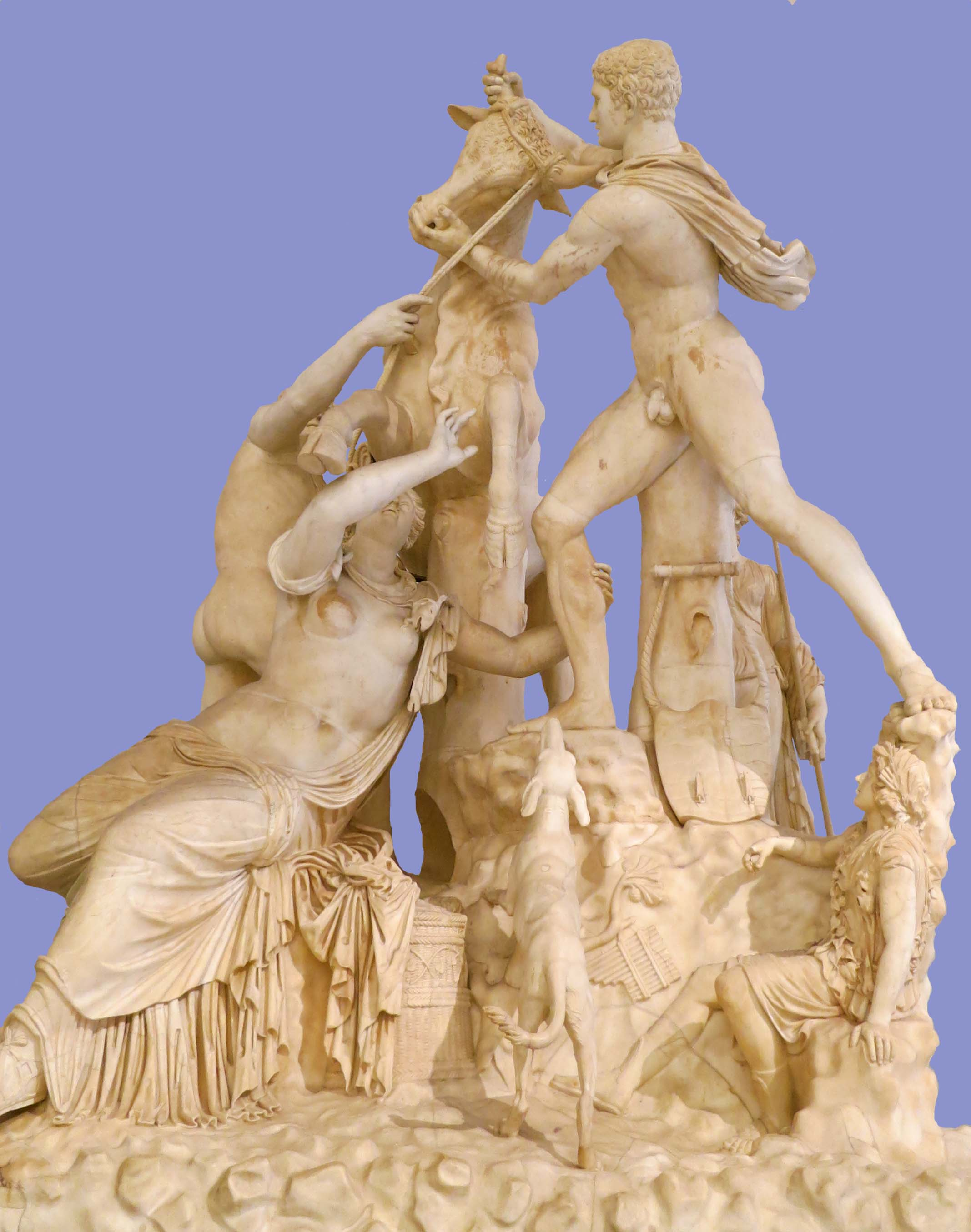 The Farnese Bull is the tallest ancient marble statue ever found. Michelangelo helped restore it by adding the dog. Photoshop and I added the blue background to better display the piece.