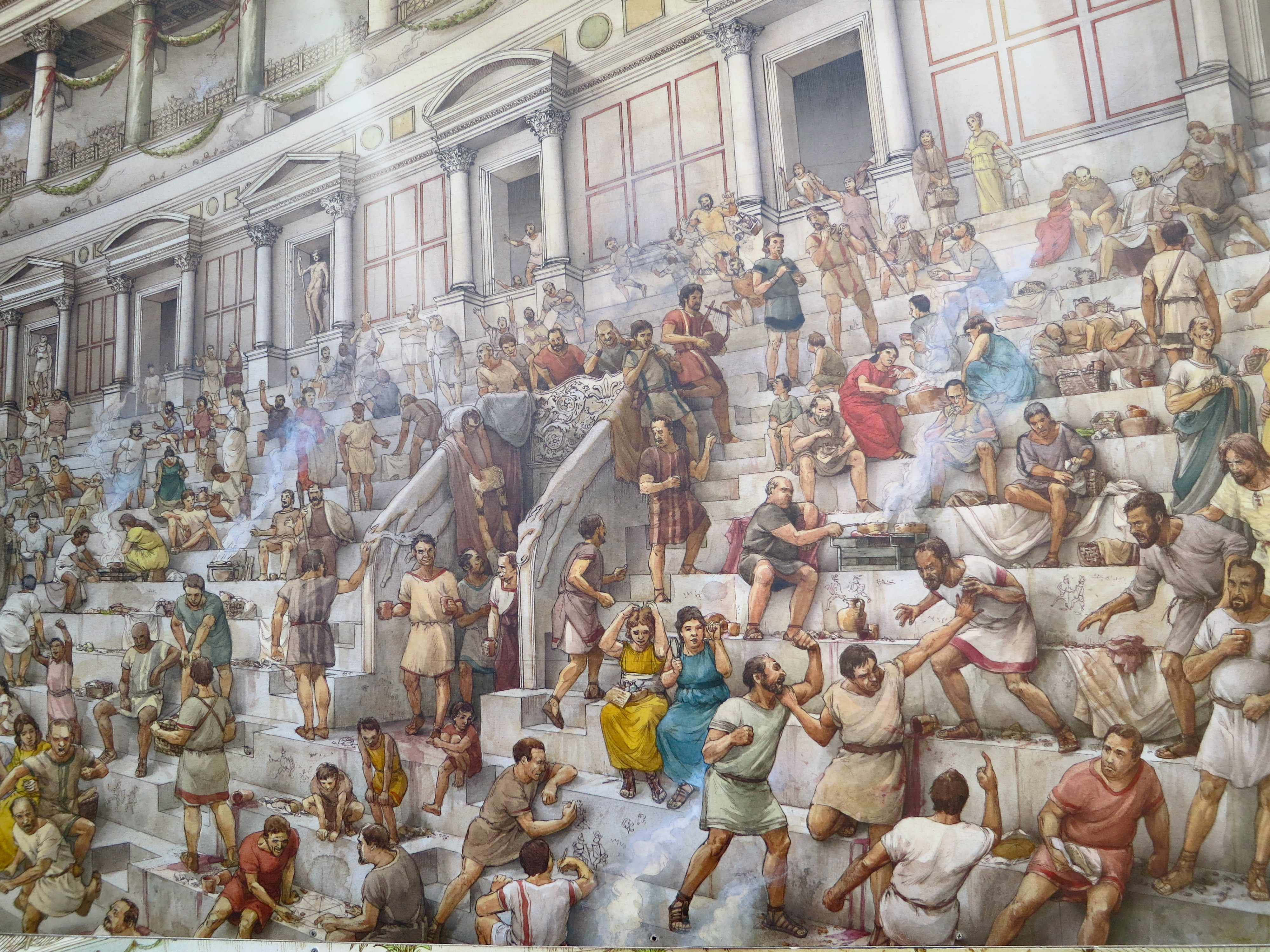 Painting in the Colosseum that illustrated a typical crowd cooking, eating, fighting and drinking.