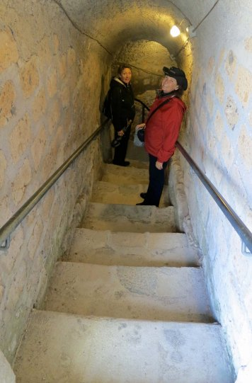 Stairs into an Etruscan tomb in Tarquinia