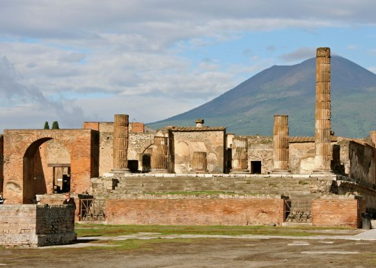 Mt. Vesuvius provides the background for this photo of Jupiter's Temple, which he shared with Juno and Minerva.
