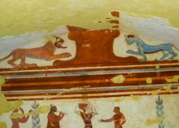 I found this painting from another tomb particularly amazing. It looked like the lion on the right was wearing shades... a cool cat.