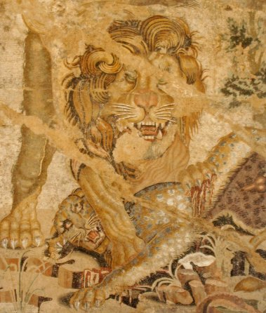 This painted lion at the Archeological Museum from a mural doesn't look nearly as friendly.