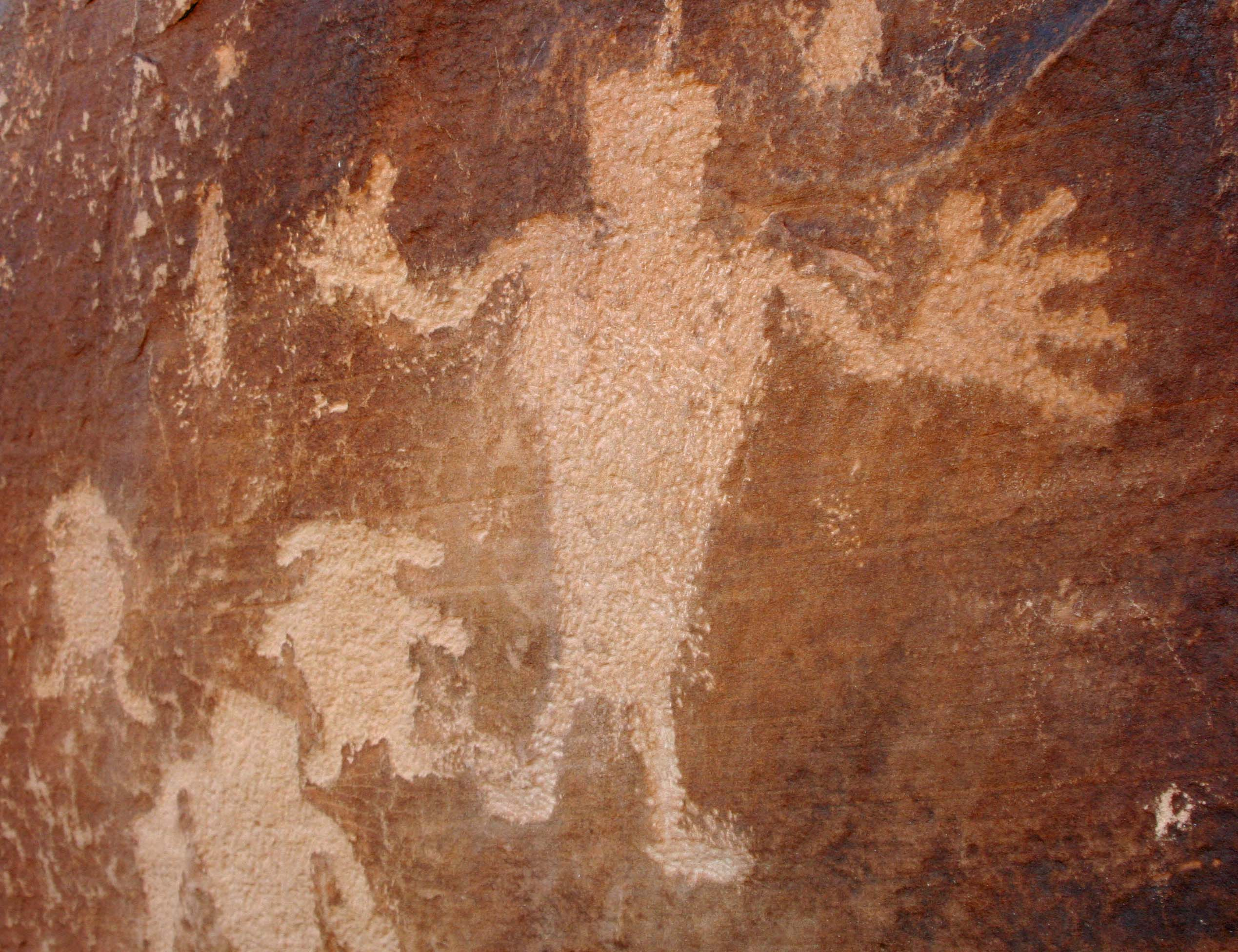 Peggy and I are great fans of Native America rock art, much of which is protected in National Parks and at National Monuments. This man with his big hands and fat little dogs has always been one of my favorites.