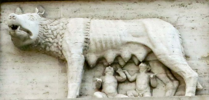 Romulus and Remus, the mythological founders of Rome, chow down on breakfast.