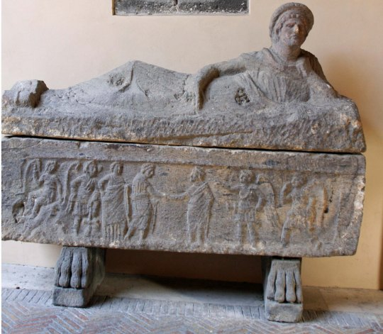This Etruscan sarcophagus from the Tarquinian tombs was one of many at the National Museum. (Photo by Peggy Mekemson)