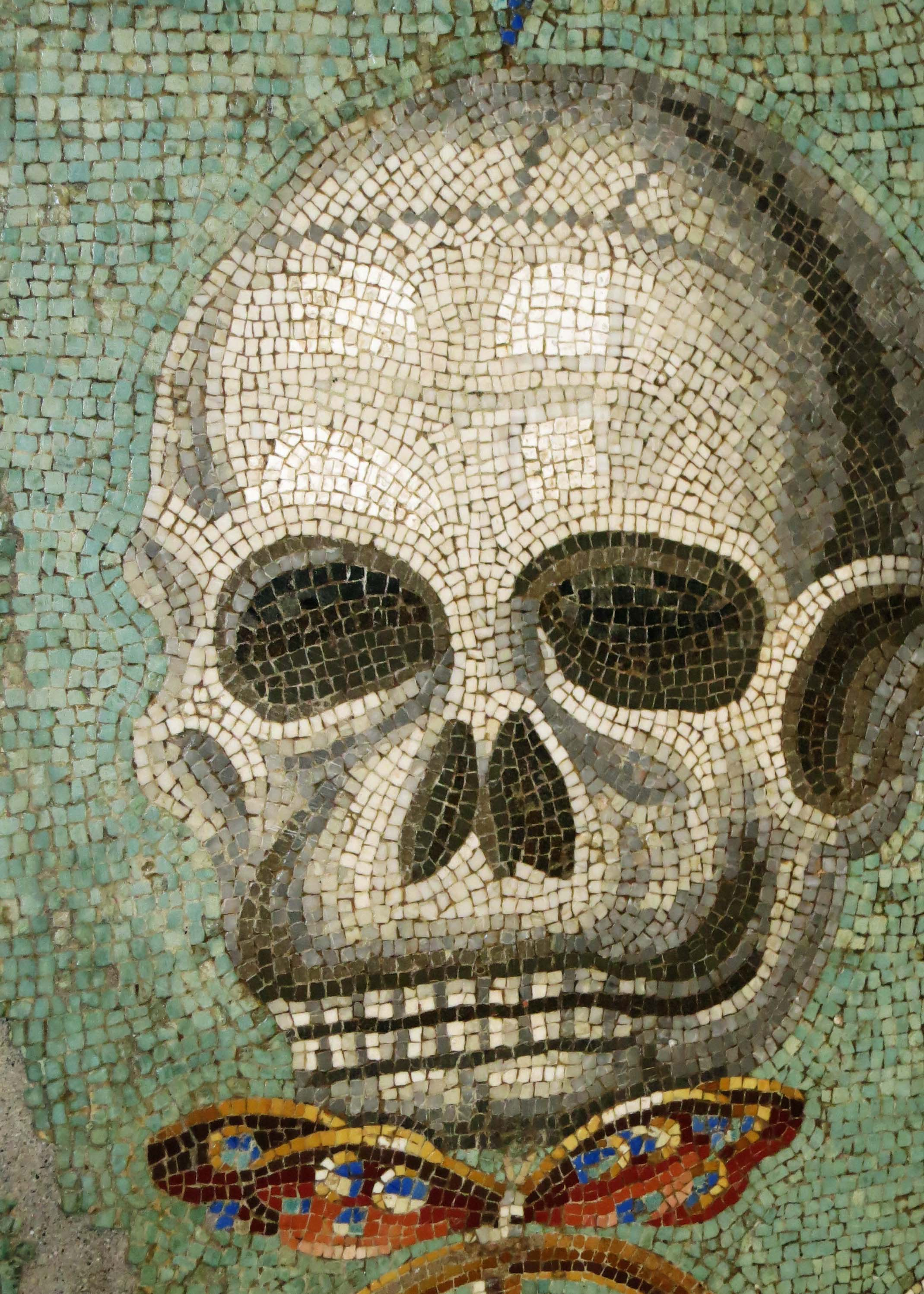 Mosaic skull at the Archeological Museum of Naples