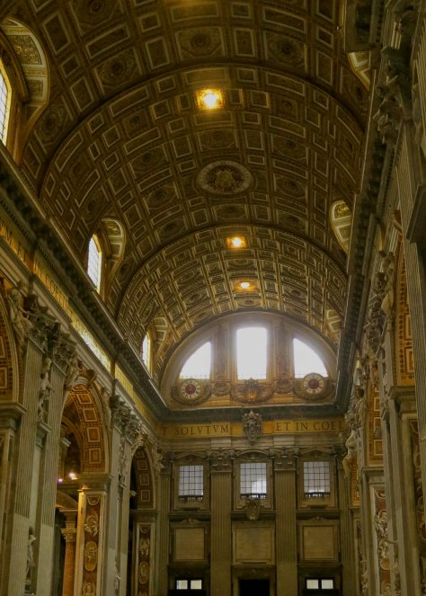 This photo of the nave of St. Peter's Basilica gives an idea of just how big the church is. 60,000 people standing shoulder to shoulder could stand inside.