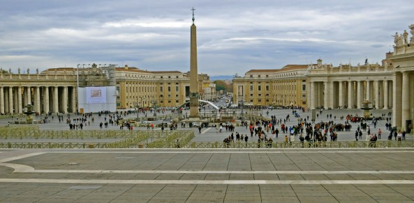 Another perspective of St. Peter's Square. This is taken from the Basilica looking back. The boulevard built my Mussolini is in the distance. Bernini's Colonnade opens out, welcoming the faithful.