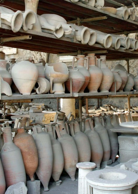 Thousands of artifacts have been found in Pompeii. Many, like these storage vessels, have found a temporary home in the area that once was the city's market area.