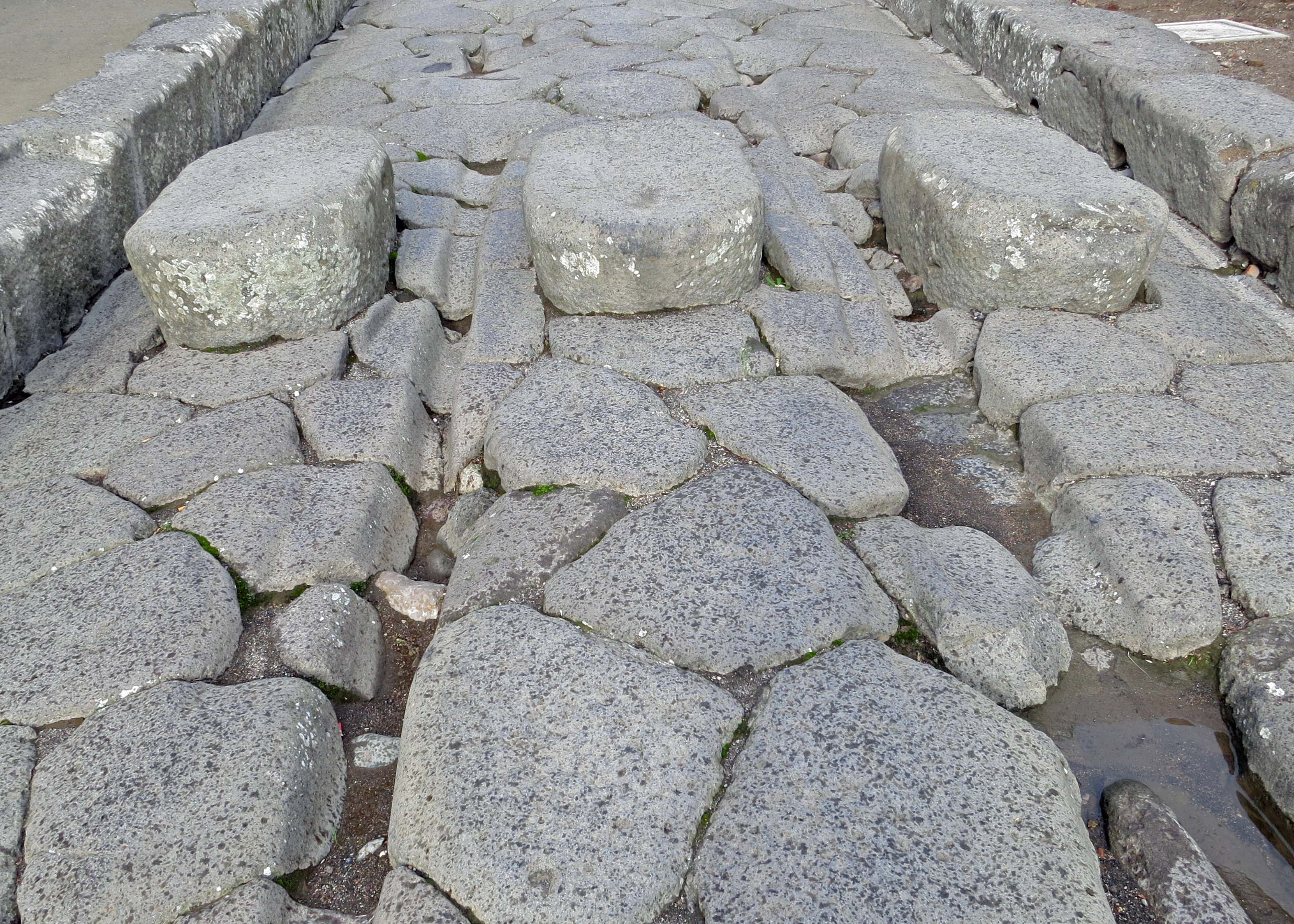 Streets in Pompeii were paved with large granite stones. The deep tracks were made by chariots, all of which had a standardized wheel base. As for the stones on top, you are looking at a crosswalk or stepping stones. These allowed people to avoid horse droppings, and, even more interesting, to cross the roads when the streets were flooded to remove horse droppings and other waste.