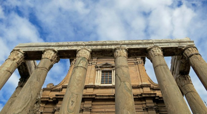 While much of the Forum today is in rubble, the temple of Antonius  and Faustina still stands proudly.
