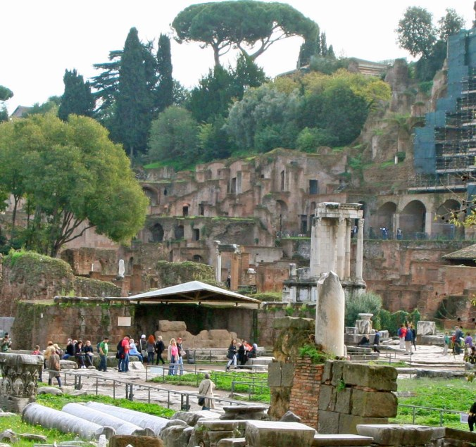 The building on the lower left, I believe, covers the site where Julius Caesar was assassinated. Above it, to the right, was the Temple of the Vestal Virgins. Their job was to stay chaste for 30 years and attend the eternal flame. Being bad got you buried alive.