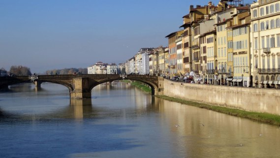 Arno River flowing through Florence, Italy.