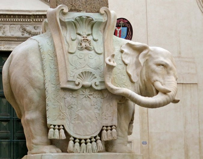 One of the joys of walk-about is you come on treasures you might not see otherwise. This delightful elephant carved by Bernini is located near the Pantheon. It serves as the base for an obelisk.