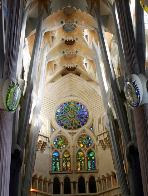 Stained glass windows in Sagrada Familia
