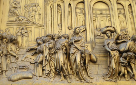 Close up of Baptistery doors Florence Italy