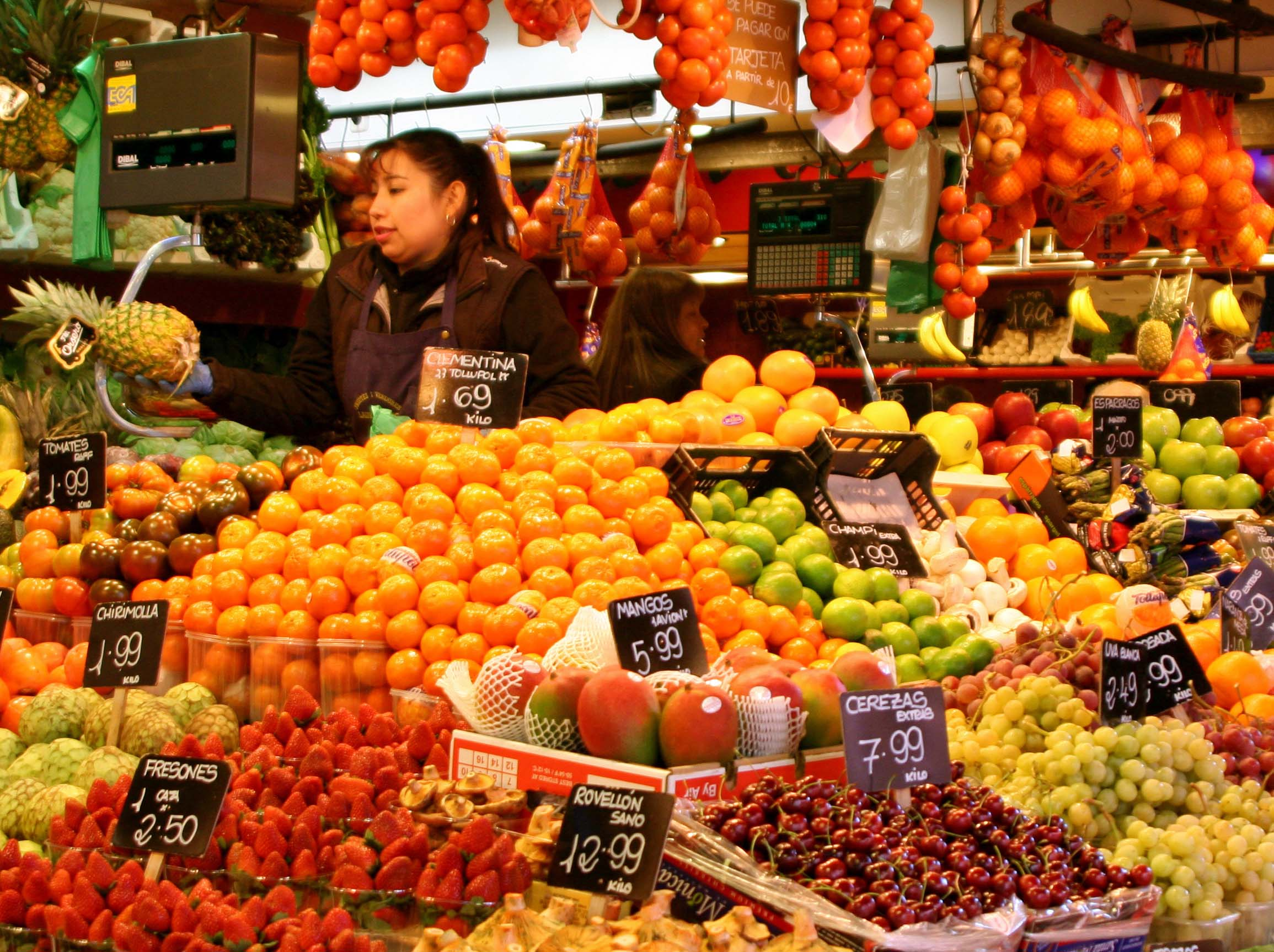 Fruit stall at La Boqueria in Barcelona