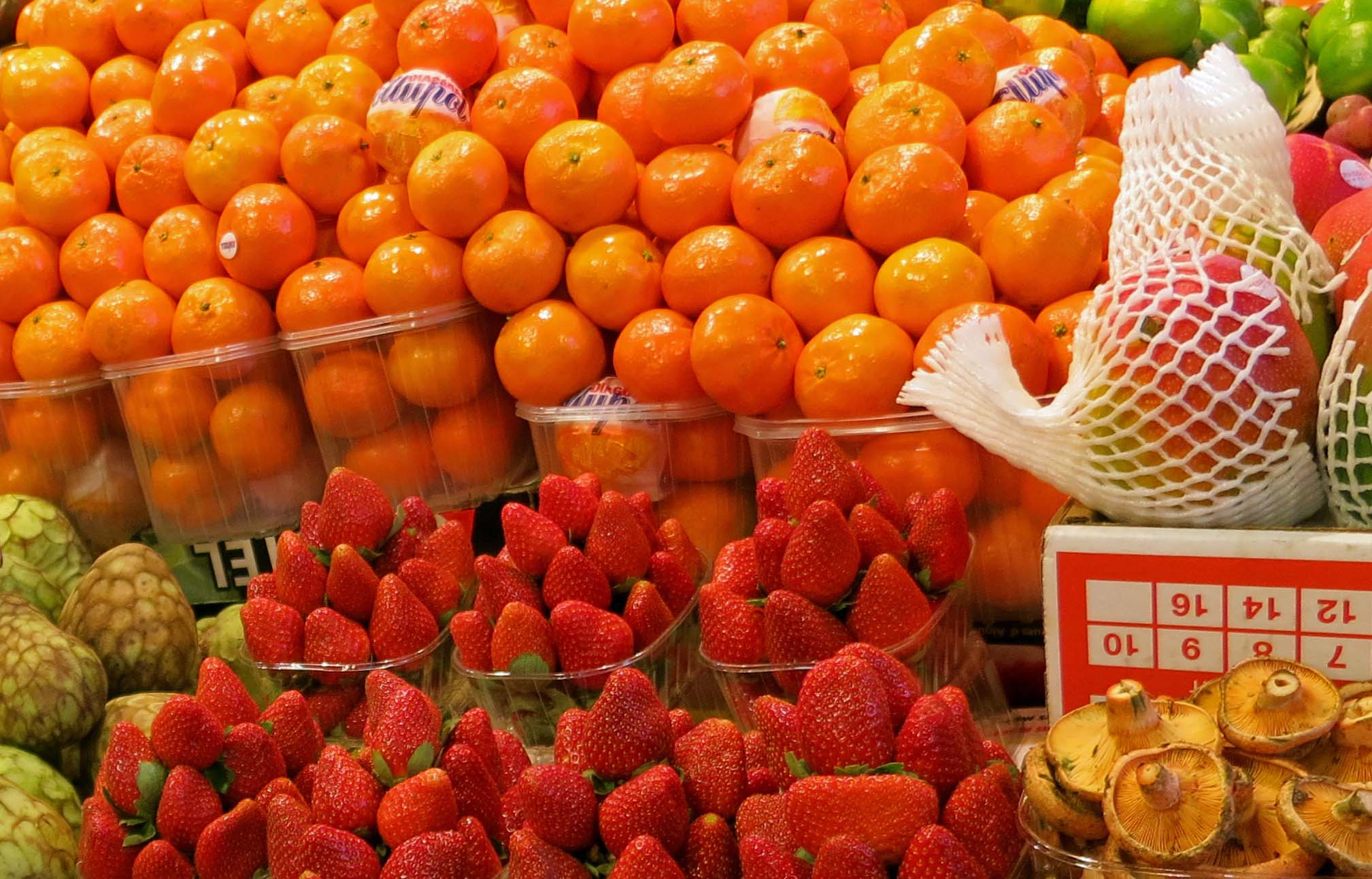 Fruit at La Boqueria Market in Barcelona.