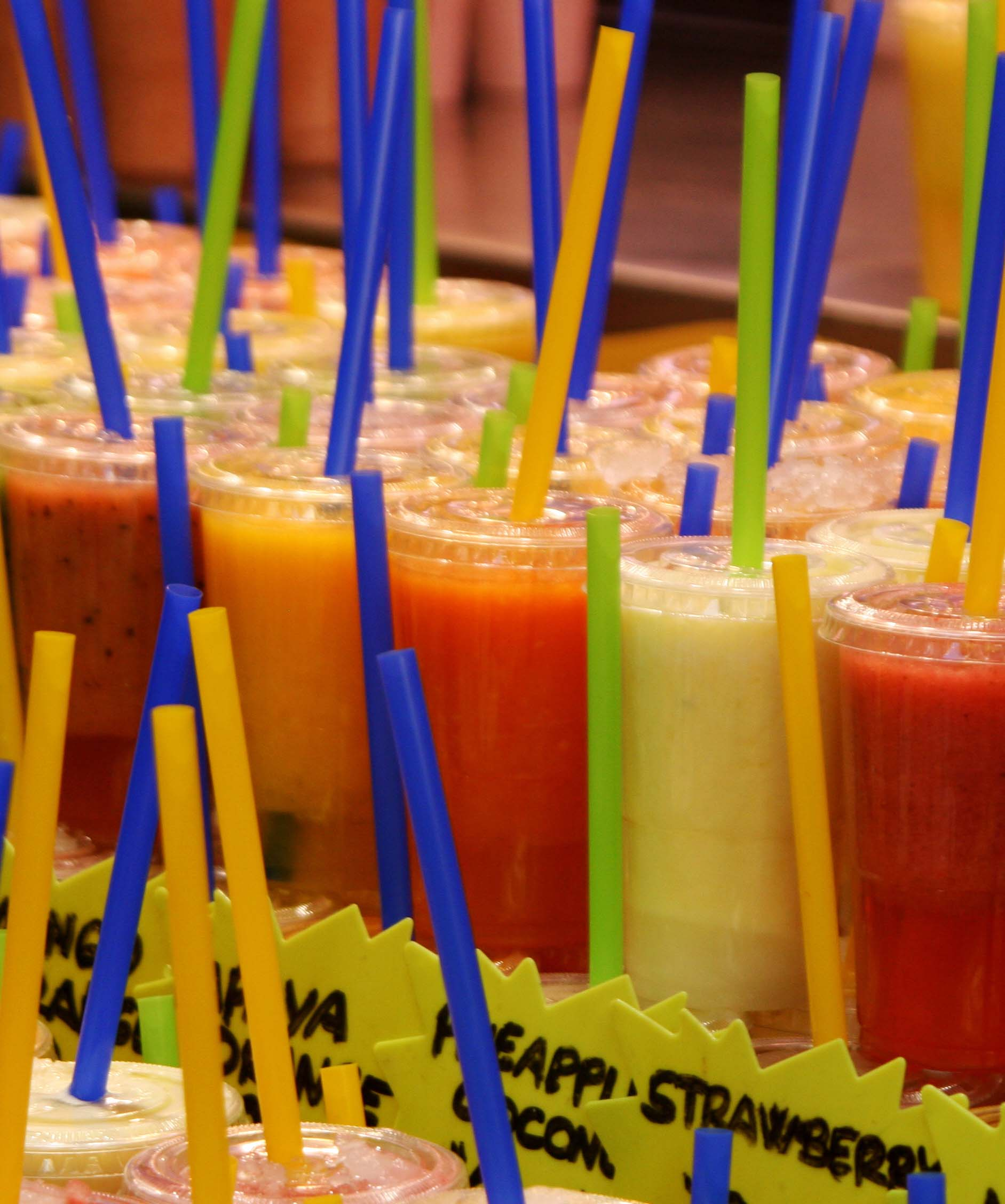 Delicious fruit drinks at La Boqueria in Barcelona